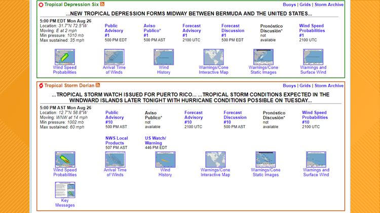 National Hurricane Center Advisory page
