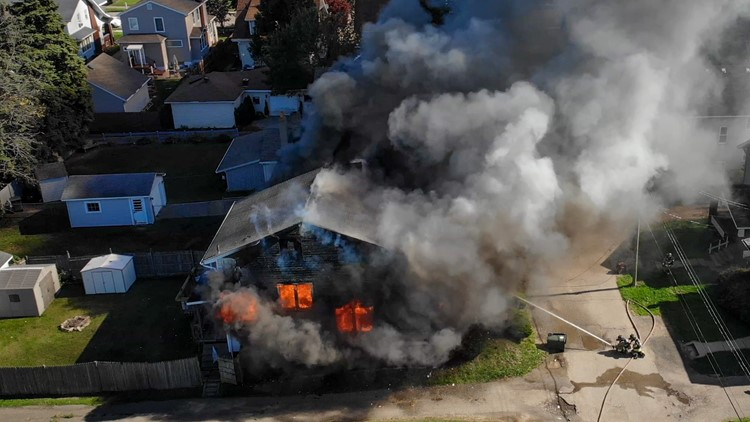 Canton house fire claims the life of woman; drone video captures damage