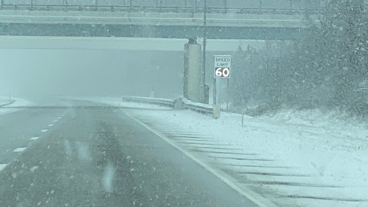 Snowy road conditions I-90 February 7, 2020