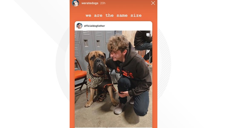 Popular WeRateDogs creator meets 'SJ' at Cleveland Browns game