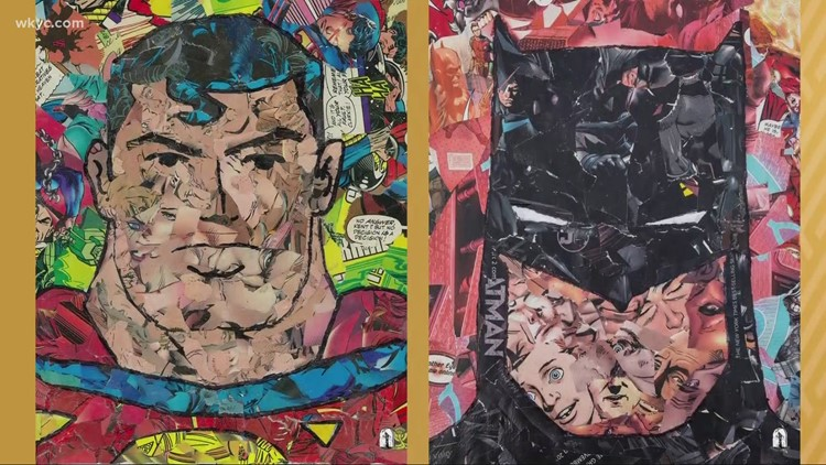 Mentor artist upcycles old comic books into character and celebrity portraits