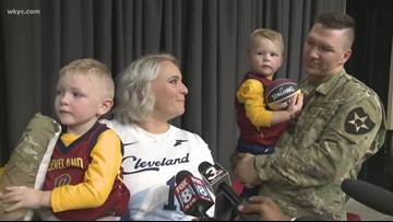 Dad surprises two sons with military homecoming at Cavaliers game