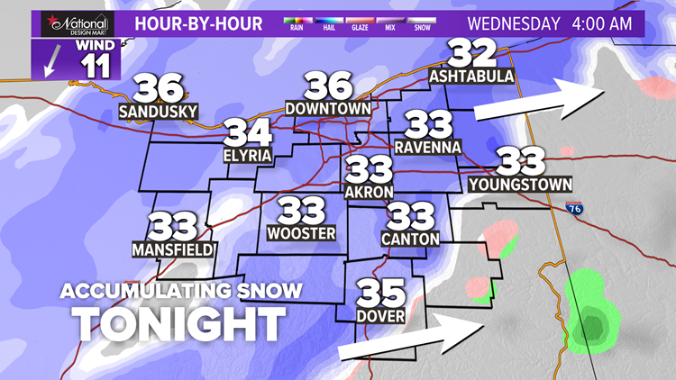 FORECAST | Accumulating snow moves in tonight for Northeast Ohio