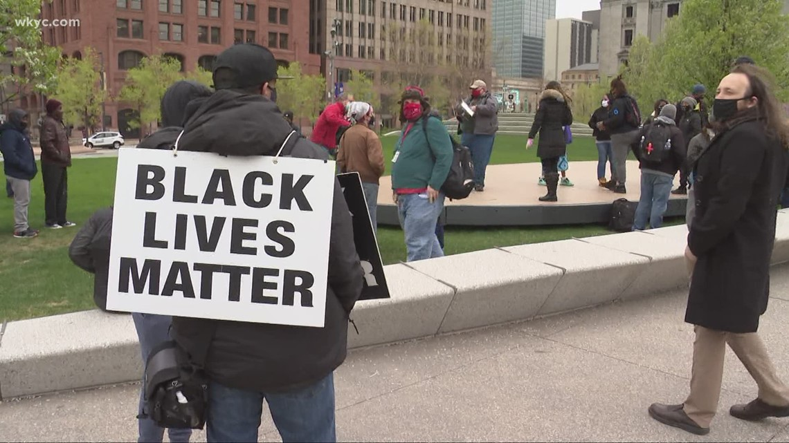 Clevelanders gather downtown to share relief of guilty verdict in Derek Chauvin trial
