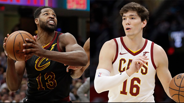 Cavaliers players Cedi Osman, Tristan Thompson help pack food at Greater Cleveland Food Bank