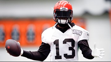 brand new 1a61e ce435 Look: Odell Beckham Jr. wears Jim Brown throwback jersey to ...