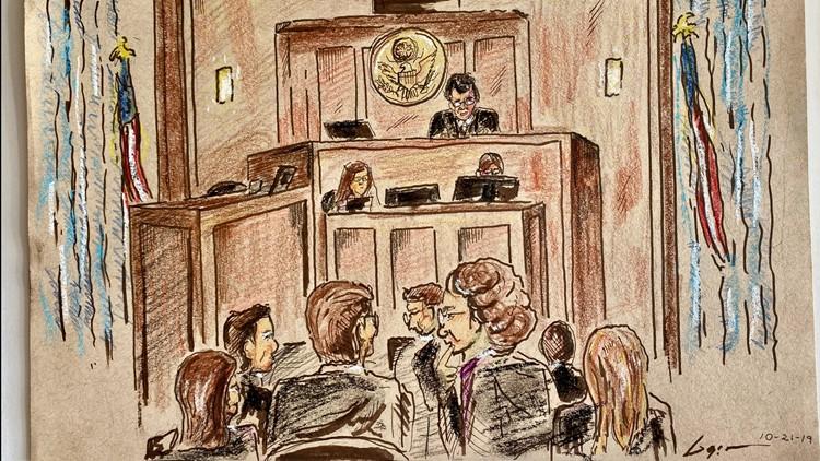 Opioid lawsuit courtroom sketch