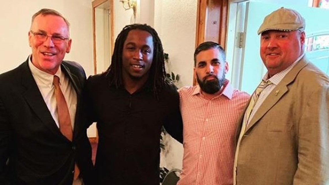 Browns coach Freddie Kitchens, GM John Dorsey attend Kareem Hunt's baptism
