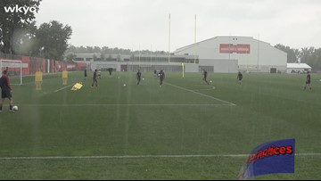 US Men's National Soccer Team practices at Browns headquarters in Berea ahead of Saturday's Gold Cup match