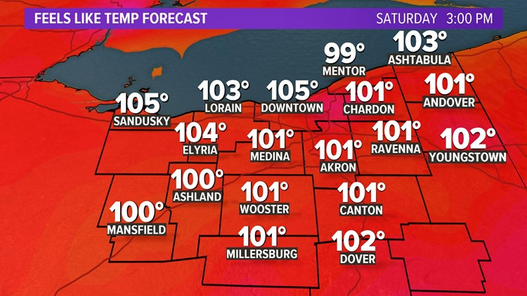 Saturday heat indices for July 20, 2019
