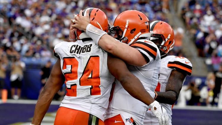 Nick Chubb Baker Mayfield Cleveland Browns-Baltimore Ravens Football