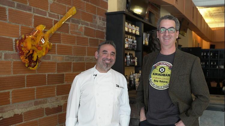 """Chef Dante Boccuzzi and Doug Trattner pose at """"Dante"""" in Tremont"""