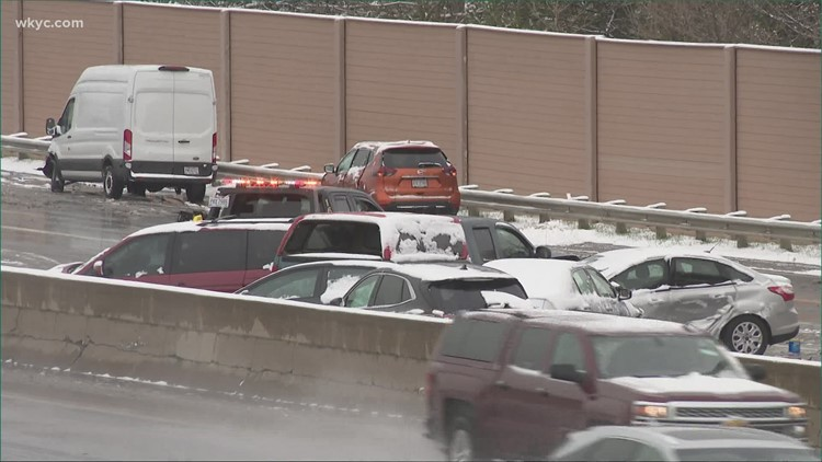 Several people sent to the hospital after snow-related traffic accidents in Northeast Ohio