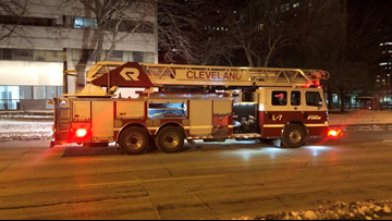 Crews battle fire at Reserve Square in downtown Cleveland