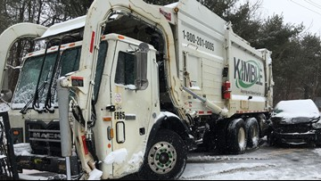Winter road conditions cause crash involving garbage truck in Hinckley
