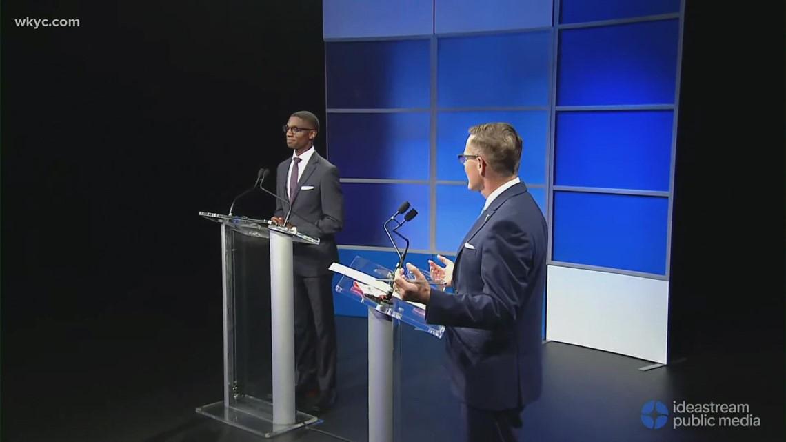 Kevin Kelley and Justin Bibb argue over Cleveland Guardians lease deal during mayoral debate