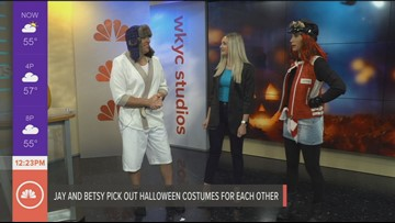 Jay Crawford and Betsy Kling reveal the Halloween costumes they thrift-shopped for each other on Lunch Break
