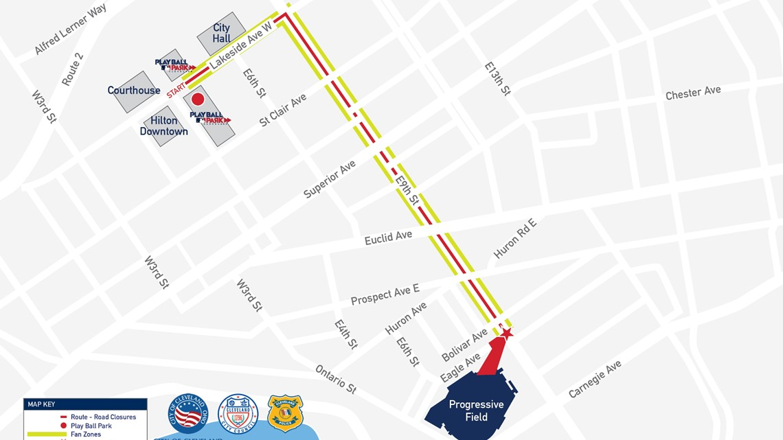 Image result for Parade Route For Tuesday's MLB All-Star Red Carpet In Downtown Cleveland