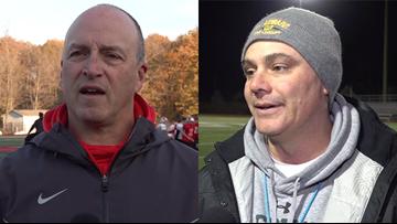Mentor's Steve Trivisonno, St. Edward's Tom Lombardo discuss this Friday's regional final showdown