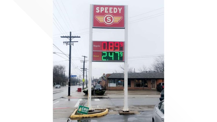 Speedy's Grub Shack on Cleveland's west side selling gas for 89 cents a gallon