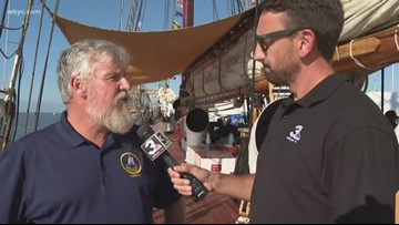 WKYC's Matt Wintz interviews the captain of one of the tall ships in Cleveland's North Coast Harbor