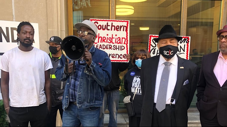 Civil rights group protests at Sherwin-Williams, seeks addition of Black-owned firm as key partner in global headquarters project
