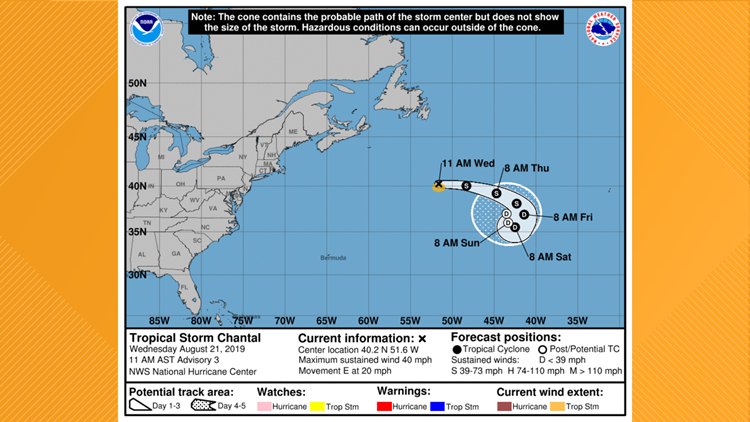 Tropical Storm Chantal on August 21, 2019
