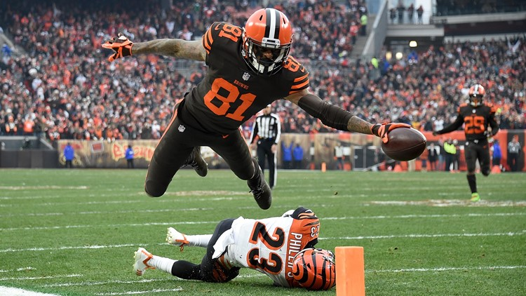 "Cleveland Browns receiver Rashard ""Hollywood"" Higgins leaps toward the end zone against Cincinnati Bengals"