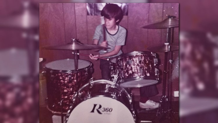 10-year old Michael learning the drums