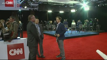 Spin Room prepares for end of Democratic presidential debate at Otterbein University