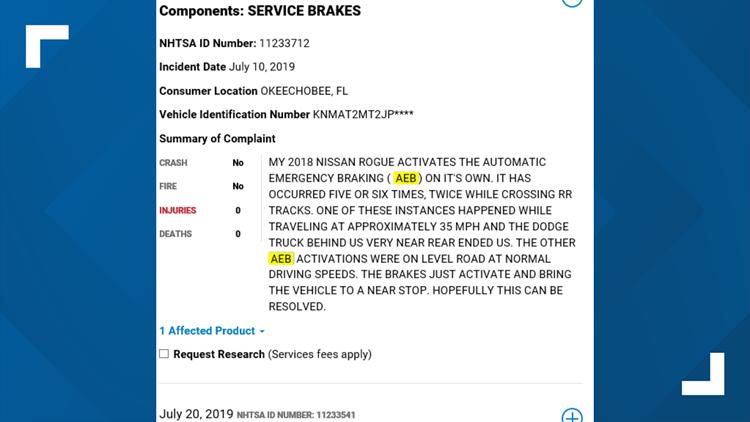 NHTSA Complaint
