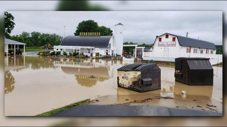 Severe flooding closes Grandpa's Cheesebarn & Sweeties Chocolates in Ashland