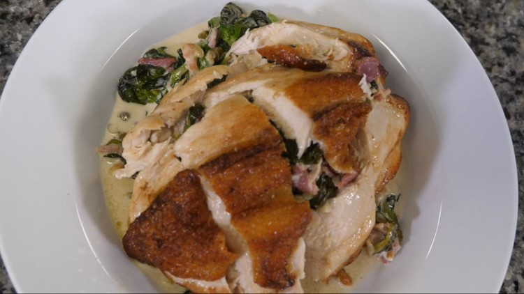 Seared chicken breast and creamed greens: Recipe for 'Comfort Food Friday'