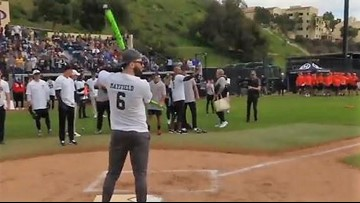 WATCH: Browns QB Baker Mayfield gets extra-base hit, scores run in charity softball game