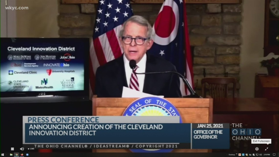 Gov. Mike DeWine announces plan investing $565 million in new Cleveland Innovation District, creating 20,000 jobs over the next 10 years
