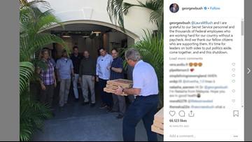 Former President George W. Bush delivers pizzas to Secret Service amid shutdown