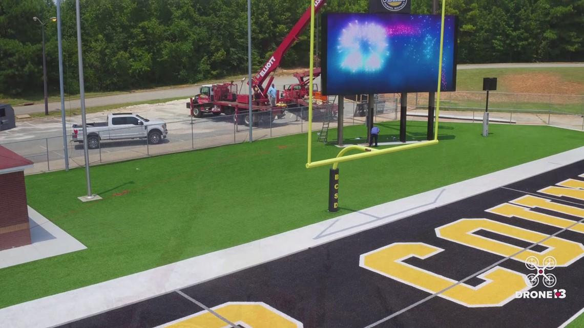 Bibb Schools' new video scoreboard at Ed Defore Stadium ...