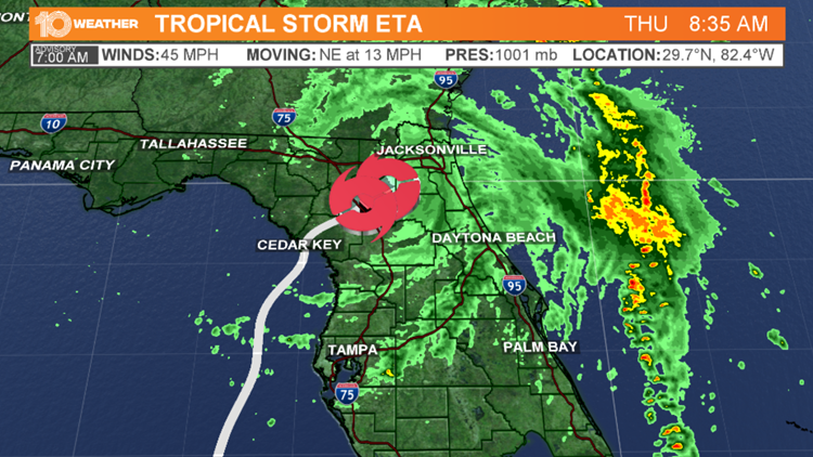 Tropical Storm Eta continues to move inland after making landfall, weakens slightly
