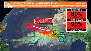 National Hurricane Center issues warnings on tropical system off the African coast