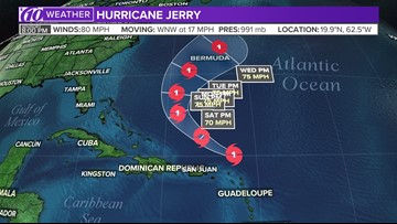 Hurricane Jerry packing winds up to 80 mph, Humberto becomes Post-Tropical Cyclone