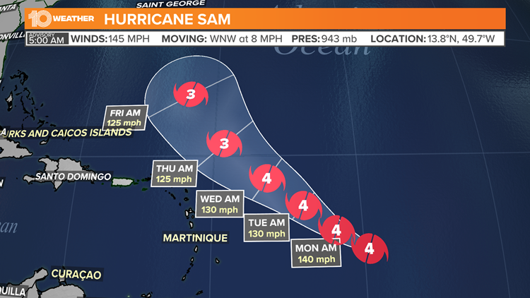 Forecasters: Sam a major hurricane, but intensity to vary