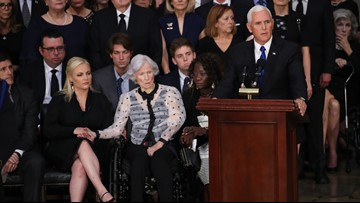 'The president asked me to be here on behalf of a grateful nation', VP Mike Pence honors John McCain