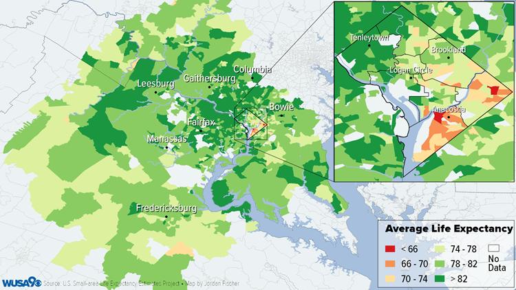 DC Metro Life Expectancy Map