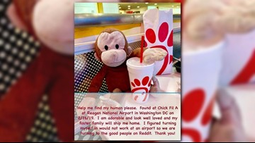 Reddit users search for owner of toy monkey found at Reagan Nat'l Airport
