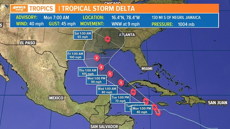 Tropical Storm Delta forms, heads into the Gulf late Tuesday