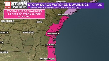 First tropical storm warnings issued for coastal Georgia