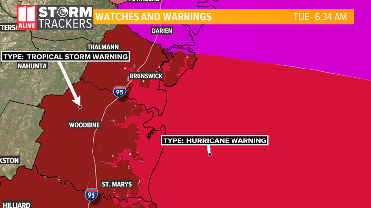hurricane warning in georgia