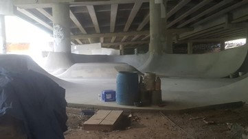 A secret skate park was built under Interstate 85, just yards from the collapse